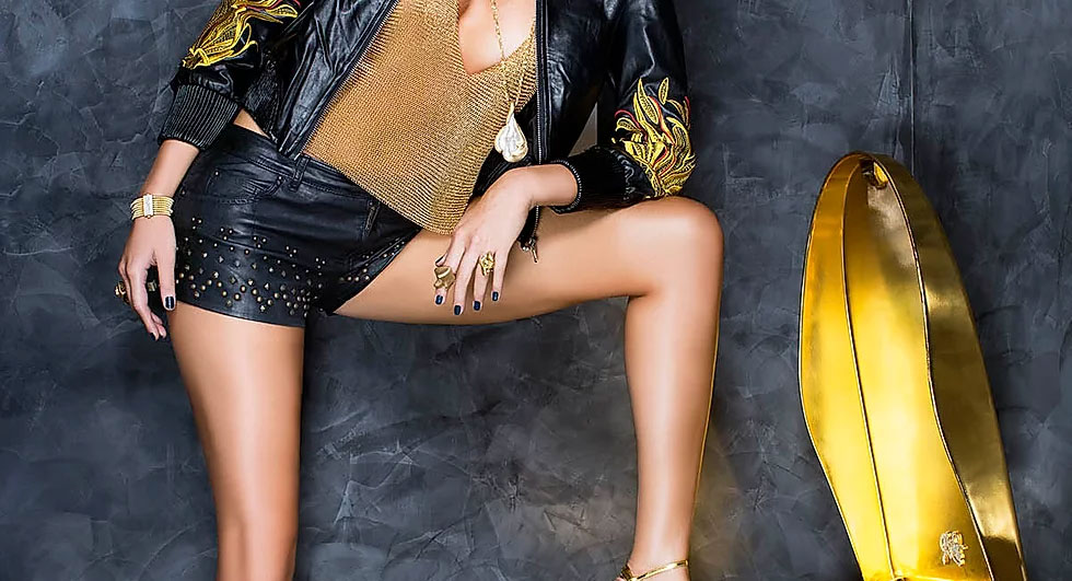 Anthony Ferrara gold ring meshed halter top